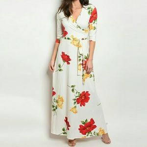 Dresses & Skirts - Faux Wrap Floral Print Belted Maxi Dress